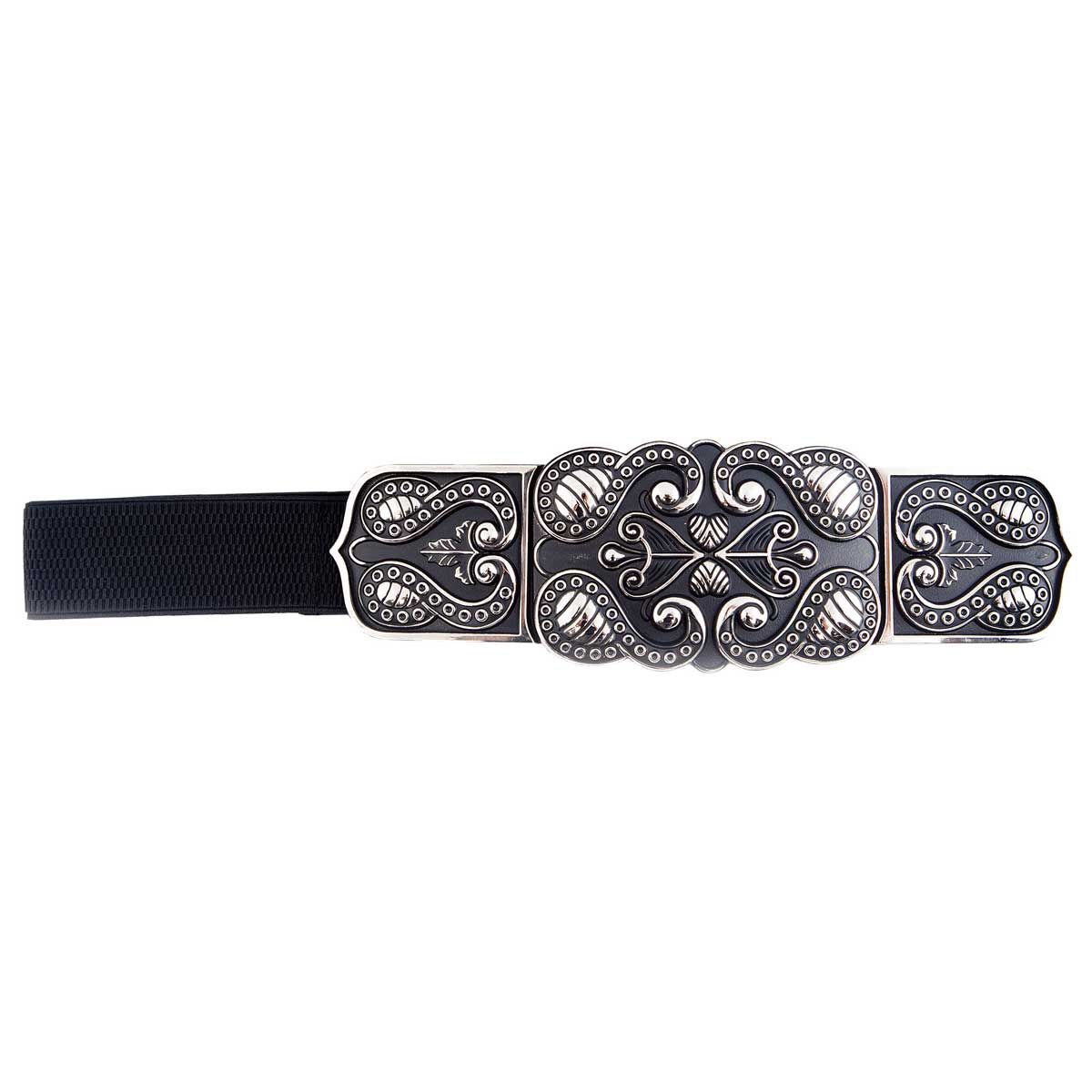 BLACK STRETCH BELT WITH ANTIQUE GOLDTONE SCROLL BUCKLE