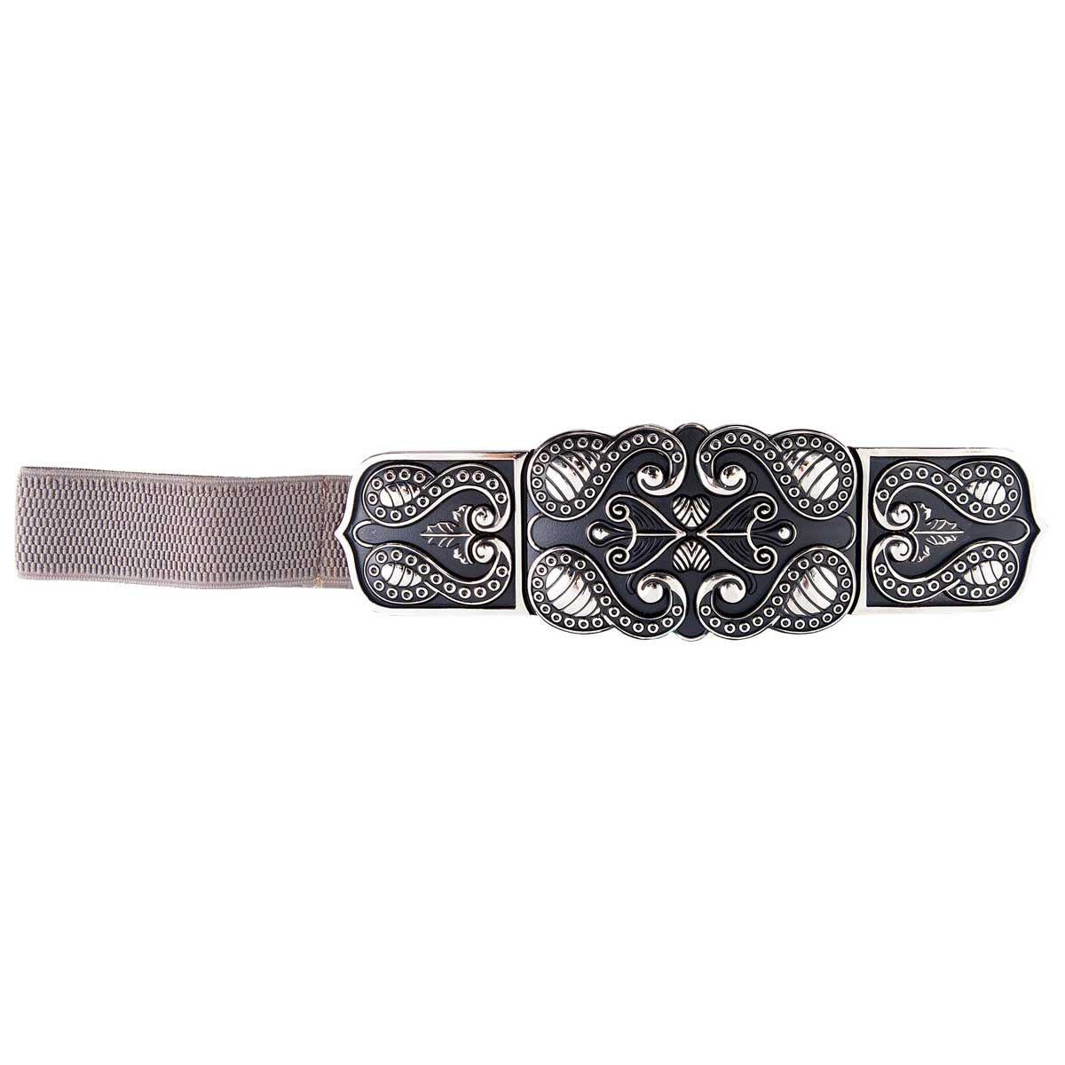 GRAY STRETCH BELT WITH ANTIQUE GOLDTONE SCROLL BUCKLE