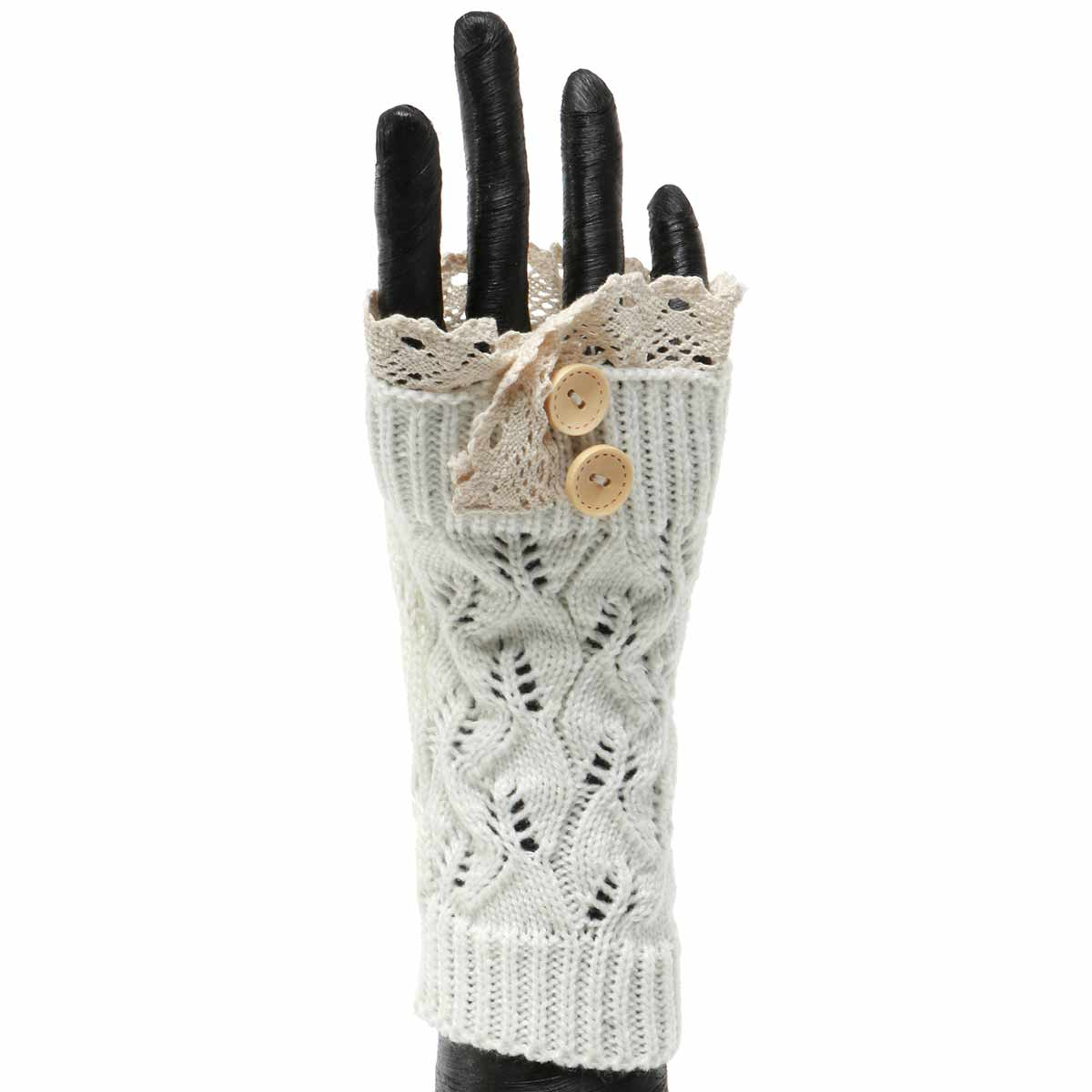 CREAM KNIT FINGERLESS GLOVE WITH LACE AND BUTTONS 50sp