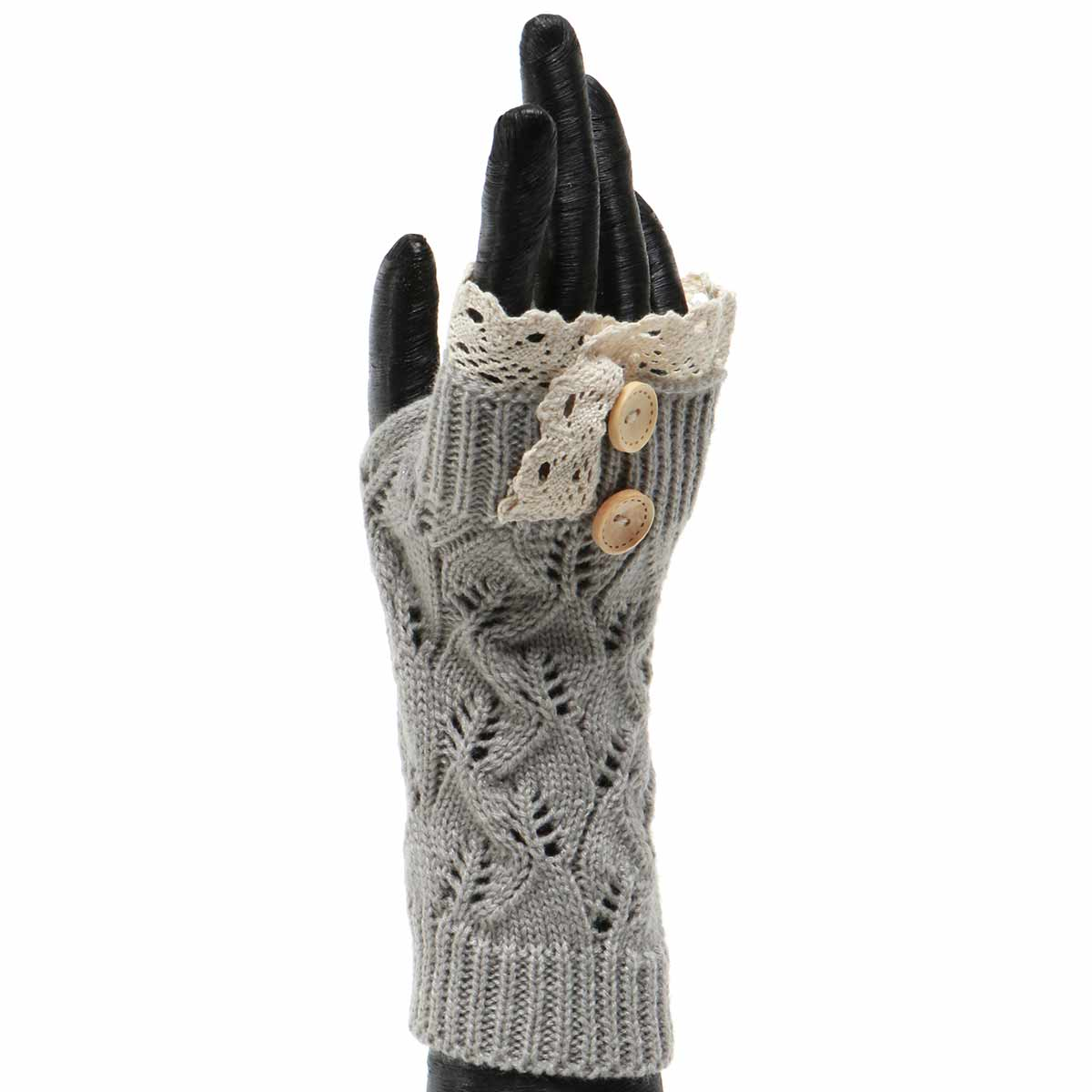 GREY KNIT FINGERLESS GLOVE WITH LACE AND BUTTONS 50sp