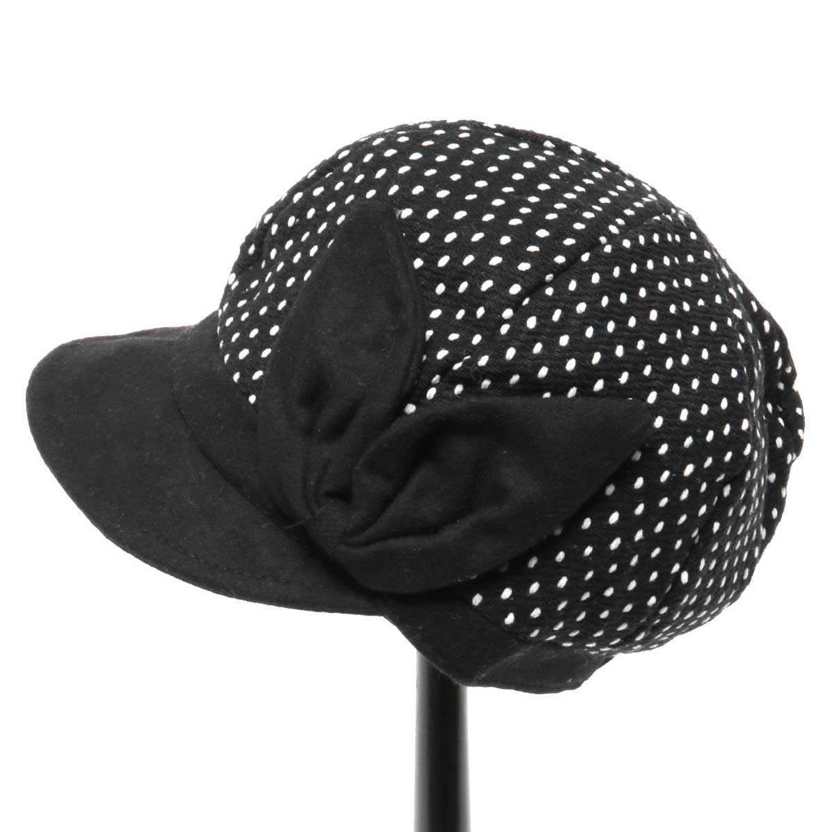 BLACK PINDOT HAT WITH BOW