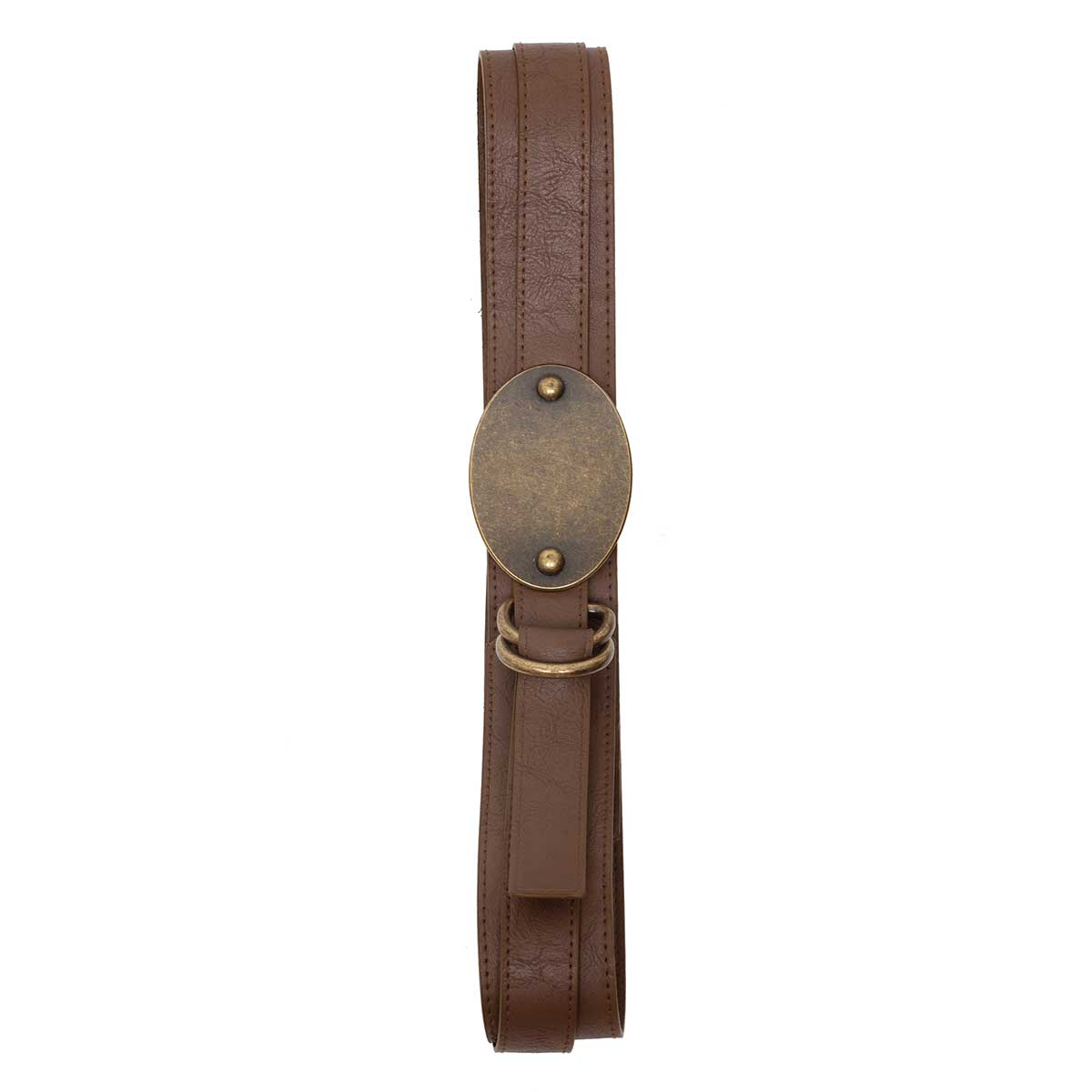 BROWN BELT WITH ANTIQUE BRONZE OVAL BUCKLE