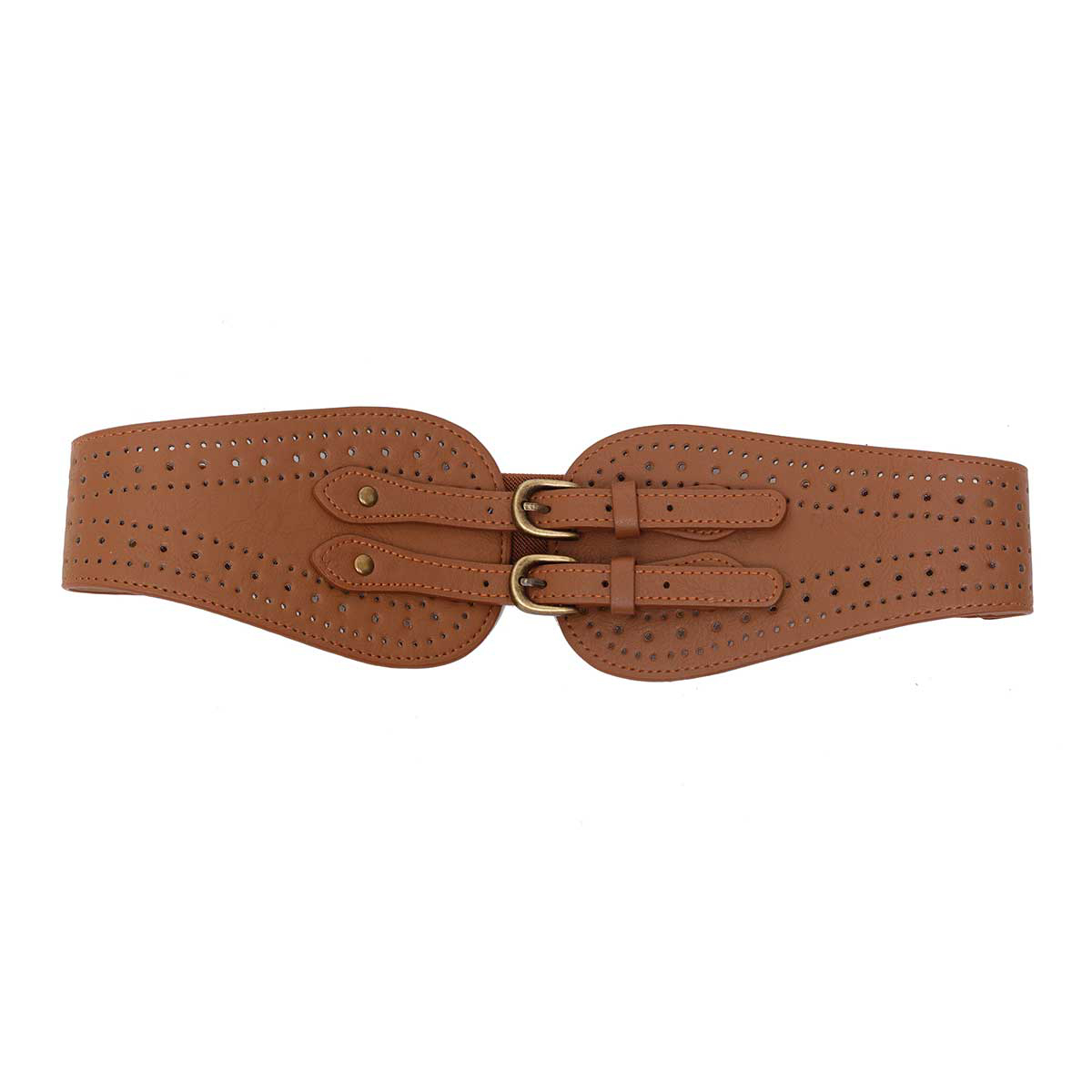 CHESTNUT PUNCH OUT DESIGN STRETCH BELT WITH