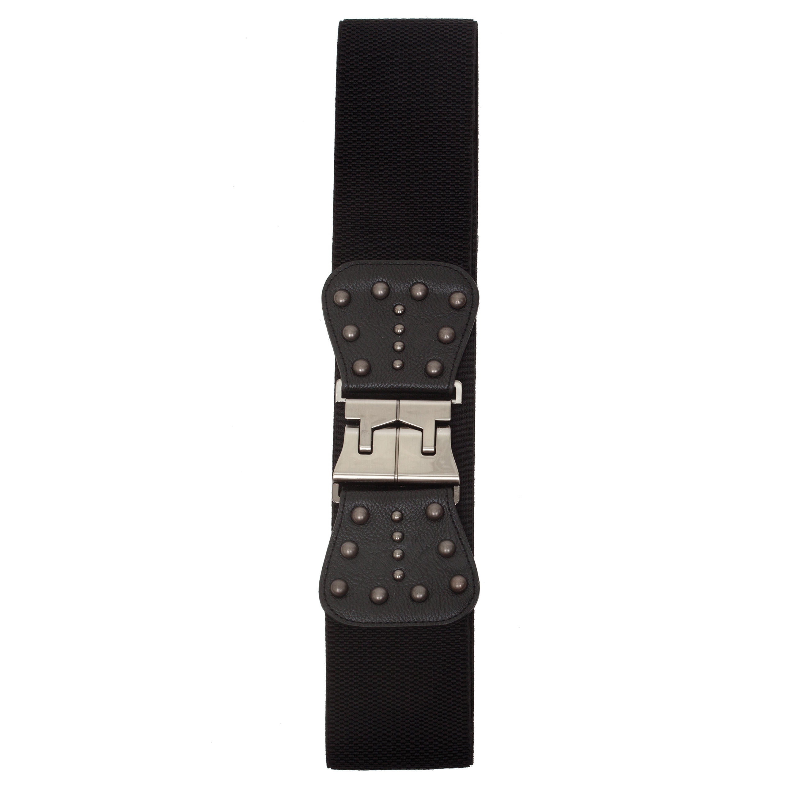 BLACK PEWTER RIVET STRETCH BELT