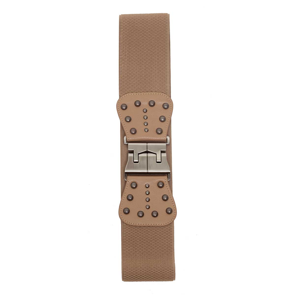 TAN PEWTER RIVET STRETCH BELT
