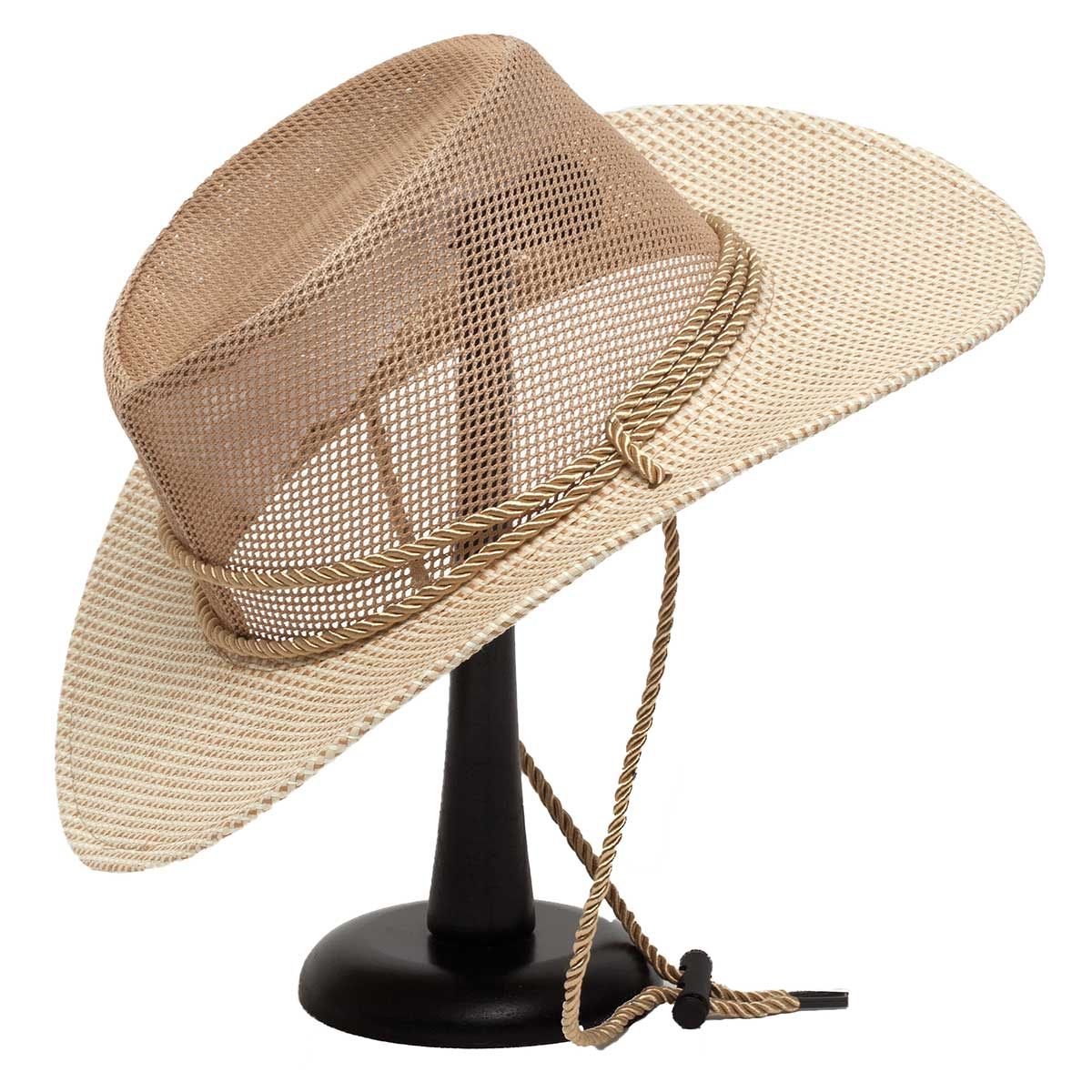 Cream Mesh Hat with Rope Trim and Checkered Brim 50sp