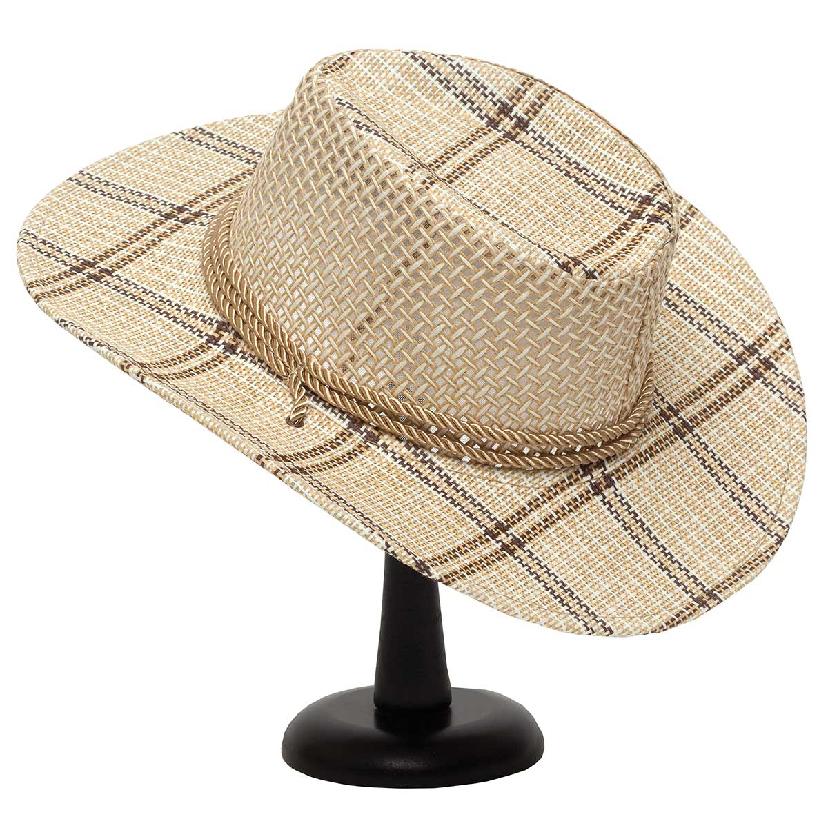 Tan Mesh Crown Hat with Rope Trim and Plaid Brim 50sp
