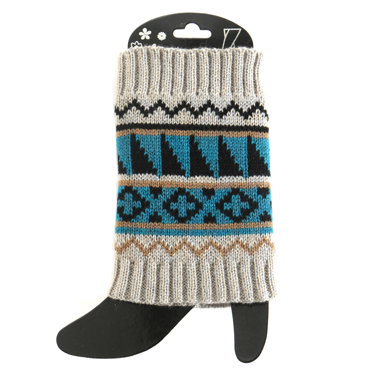 Grey/Teal Sweater Boot Cuff Short 50sp