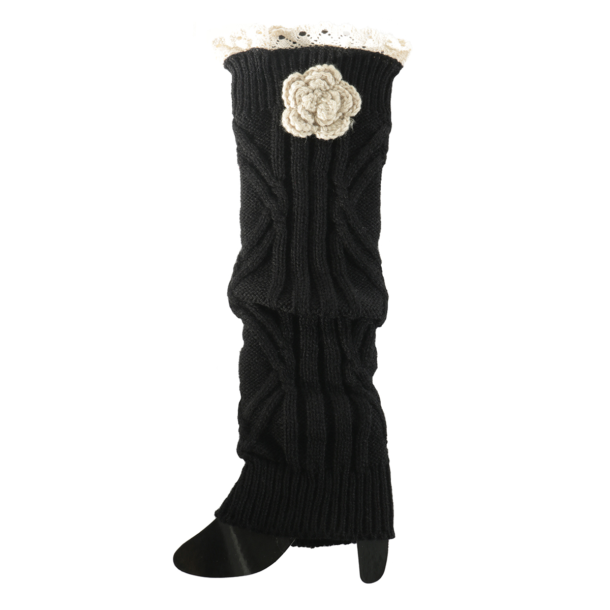 Black Crochet Flower Boot Cuff 50sp