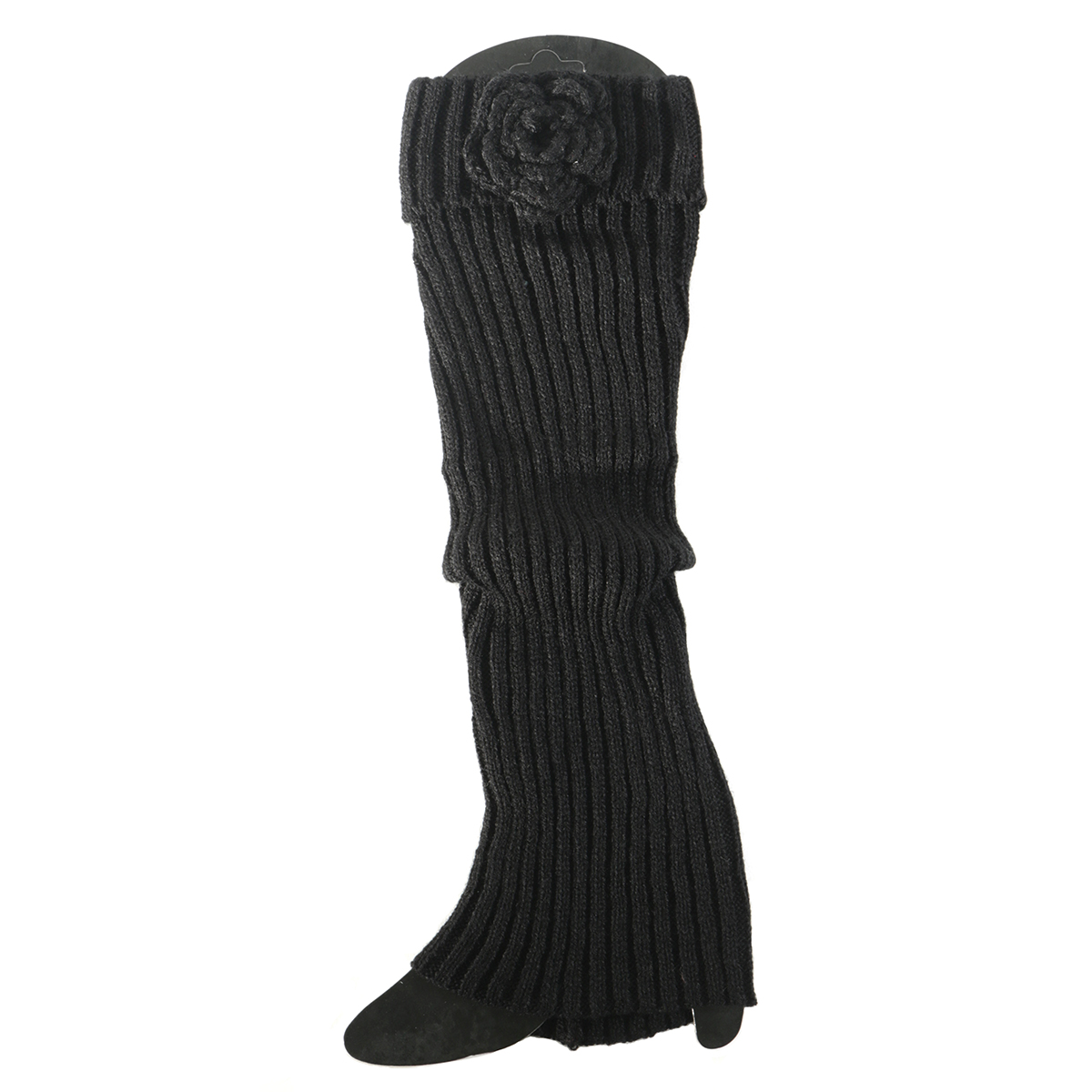 Black Boot Cuff with Flower Tall 50sp