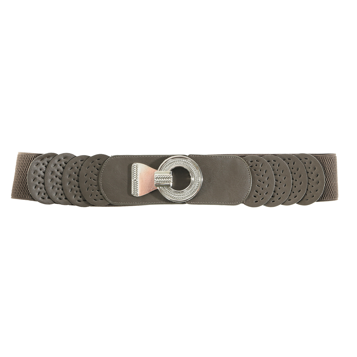 "BROWN 35"" CIRCLE BUCKLE BELT"