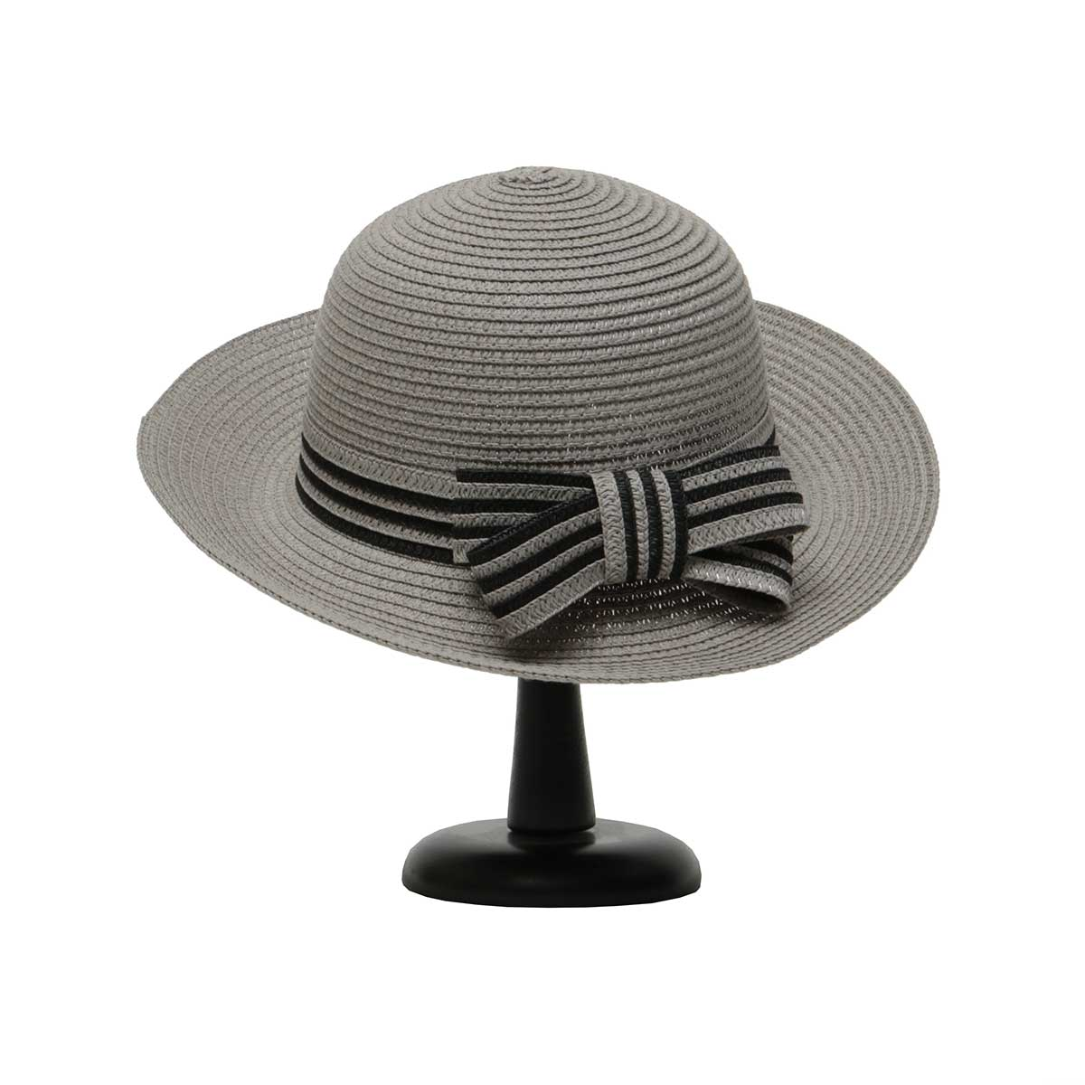 Grey Bowler Hat with Black and Grey Trim and Bow 50sp