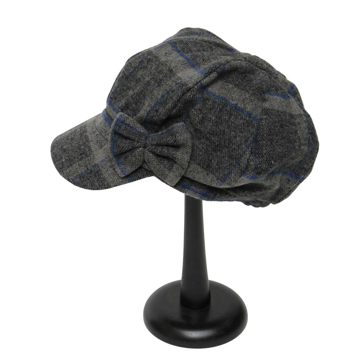 Grey/BL PLAID SLOUCH HAT