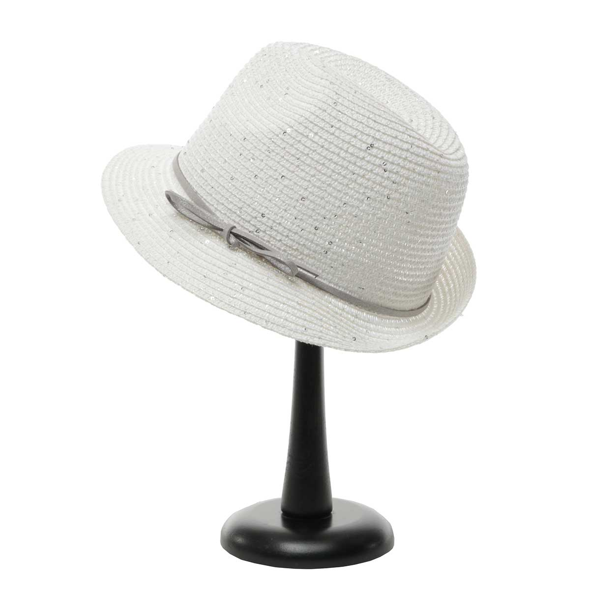 White Sparkle Derby Hat with Bow Trim