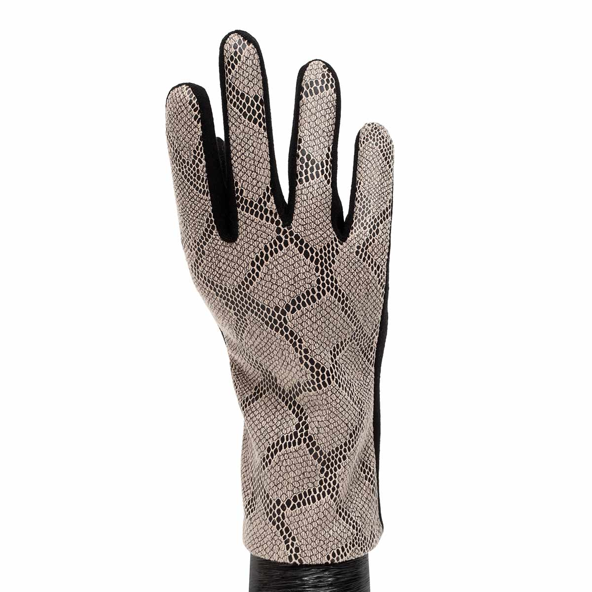 Grey Faux Snakeskin Gloves