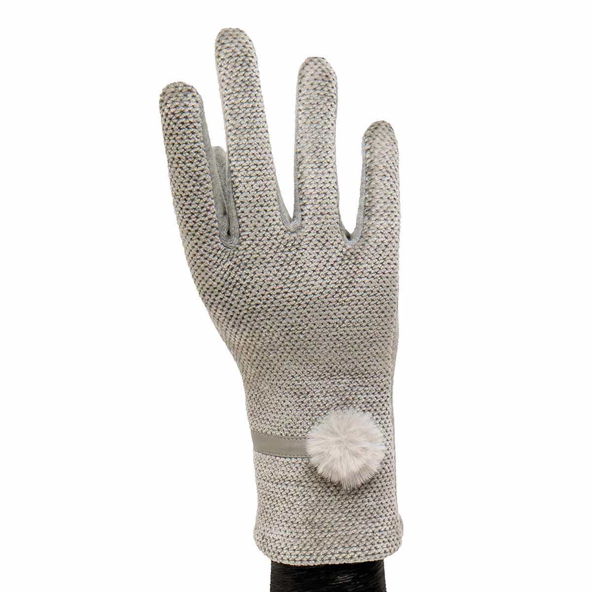 Grey Velour Gloves with Fur Tuft