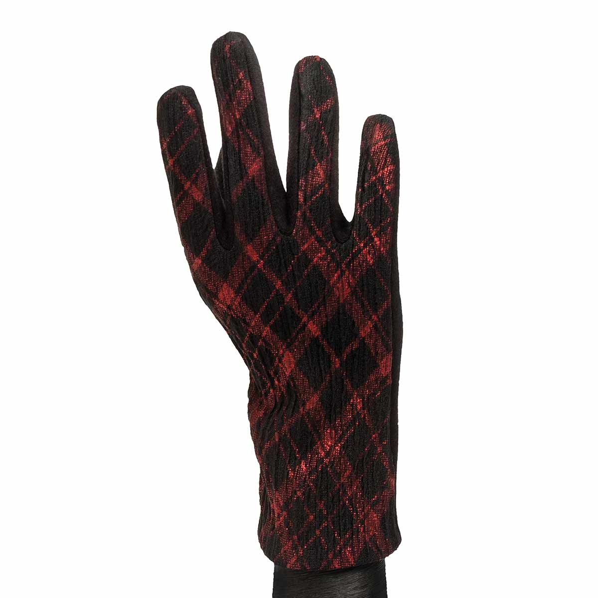 Red and Black Argyle Gloves