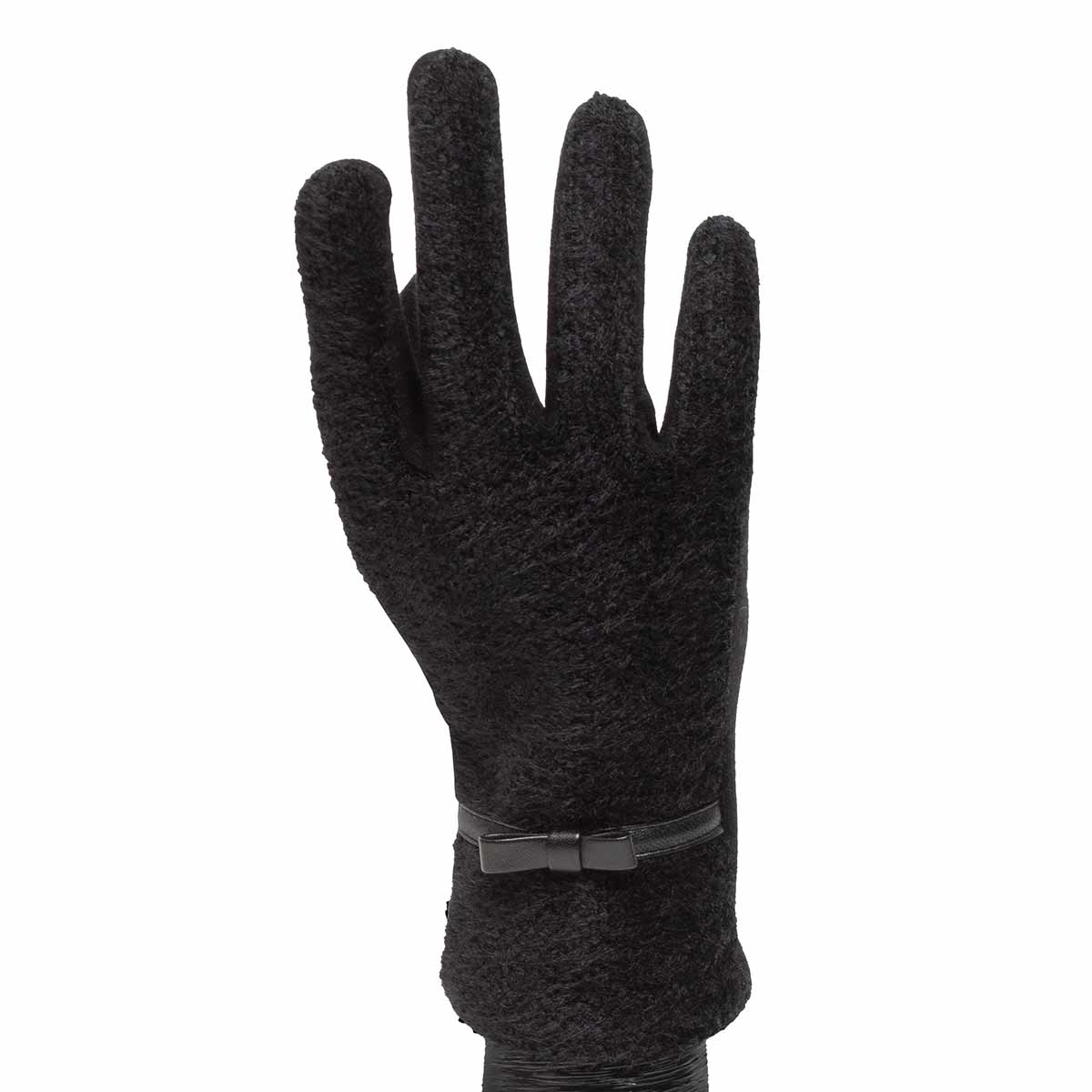 Black Fuzzy Gloves with Belt Trim