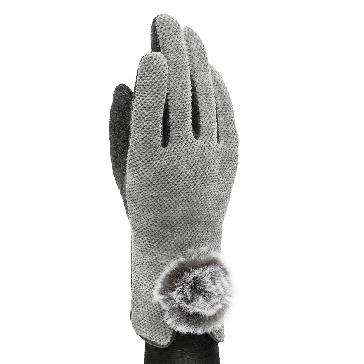 Grey Velour Gloves with Fur Pom Pom