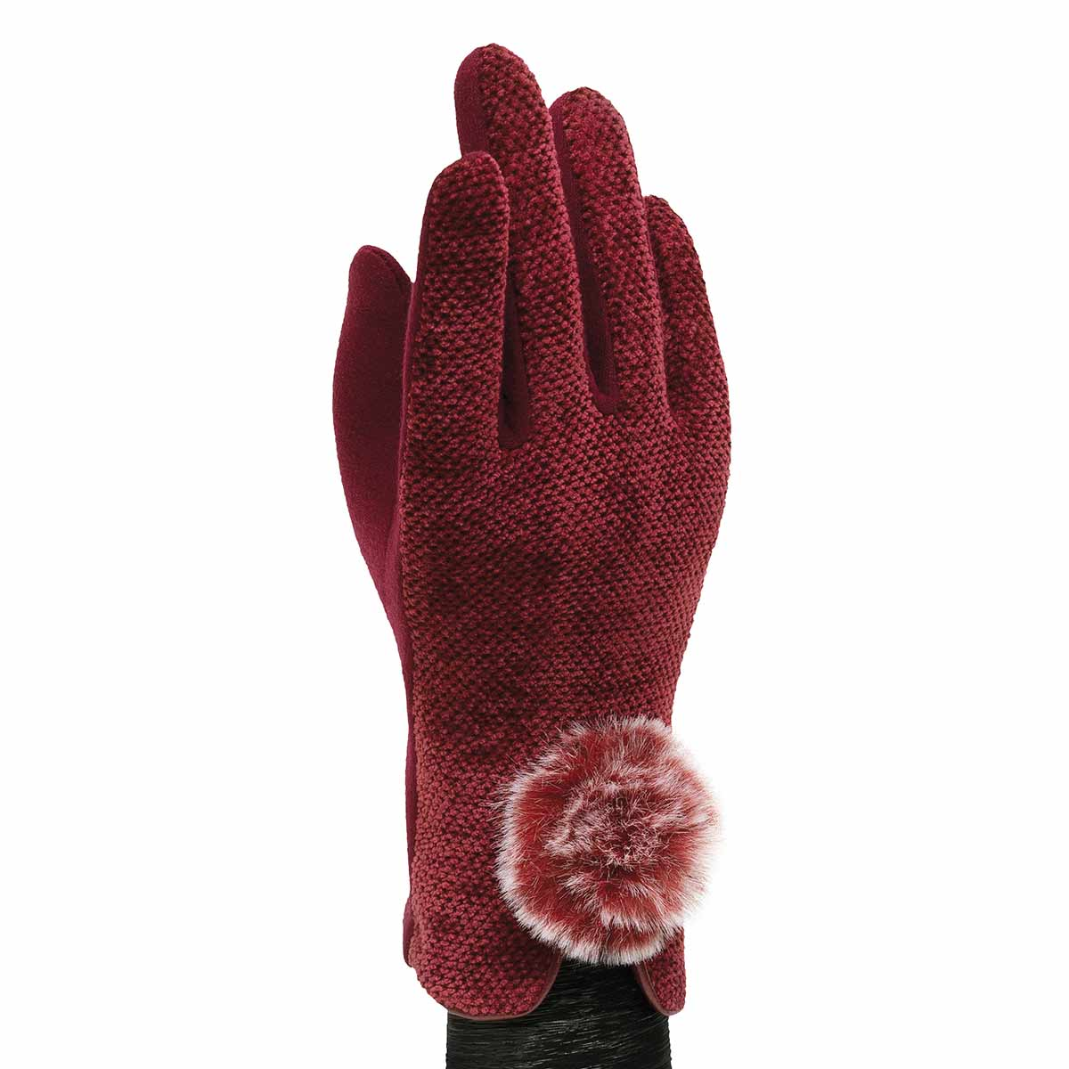 Burgundy Velour Gloves with Fur Pom Pom