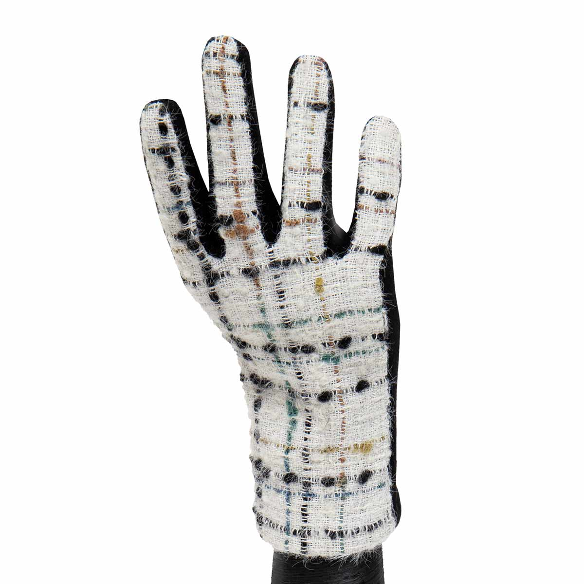 White and Black Boucle Knit Gloves