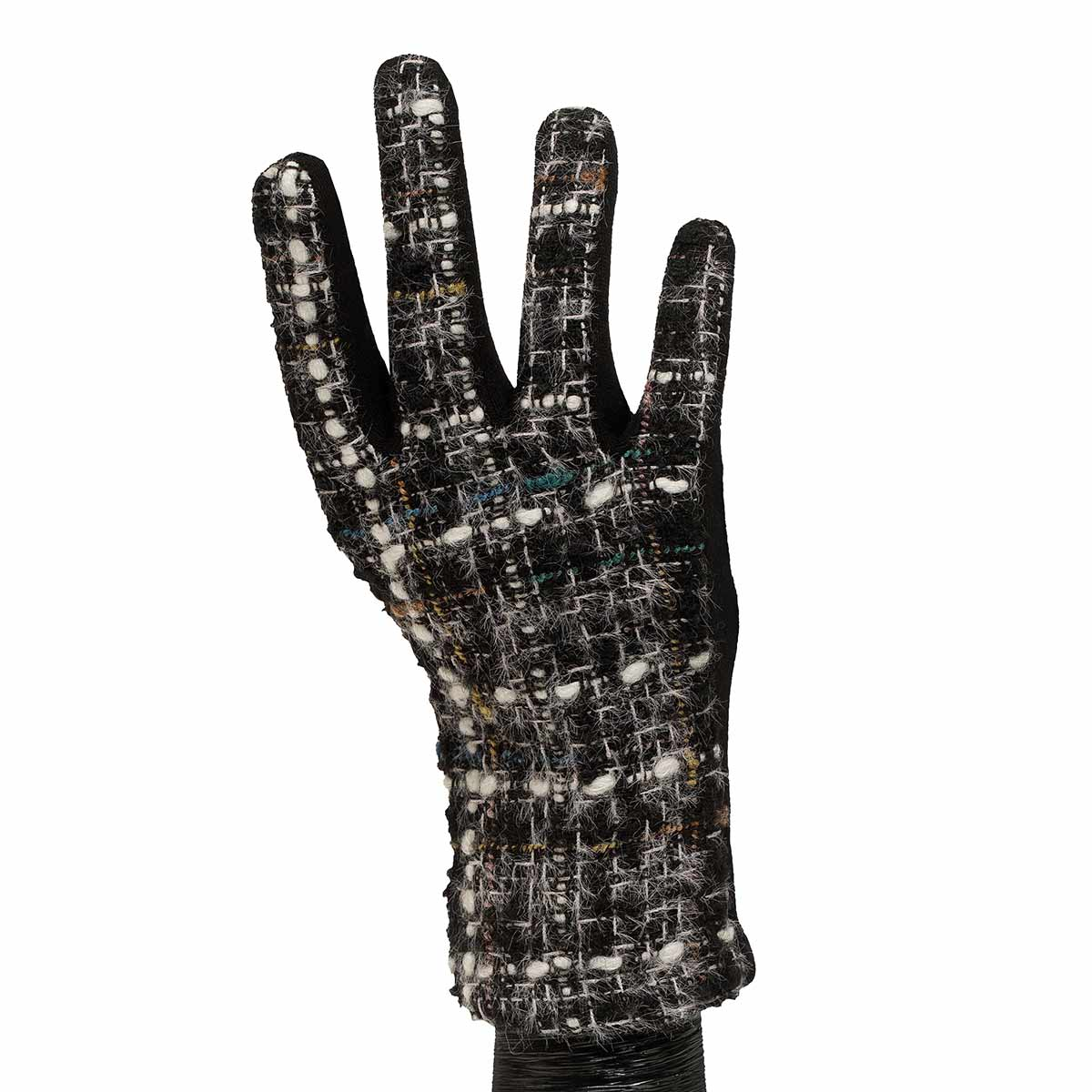 Black and White Boucle Knit Gloves