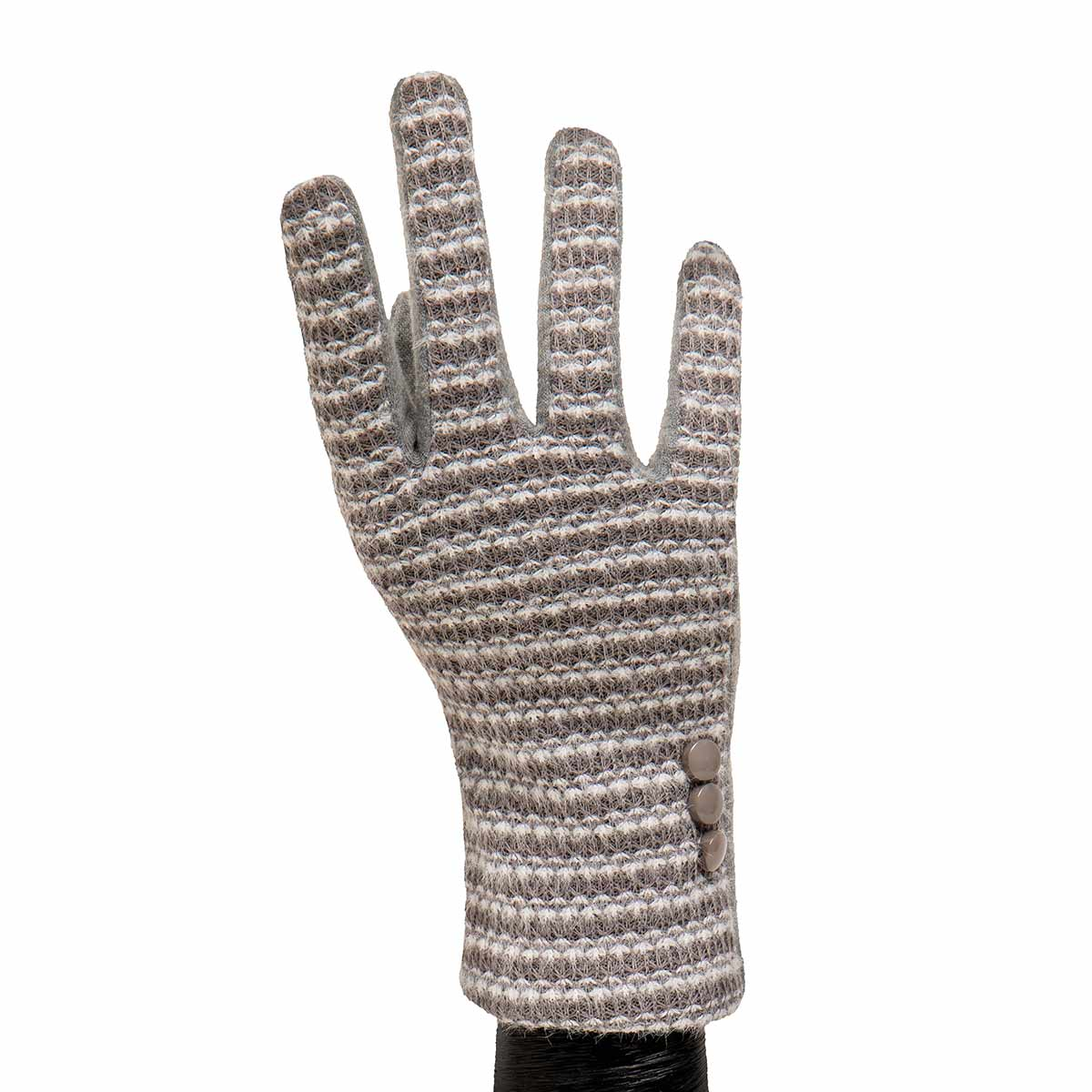 Grey Knit Gloves with Buttons