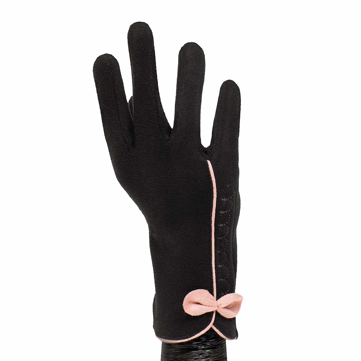 Black Gloves with Pink Bow