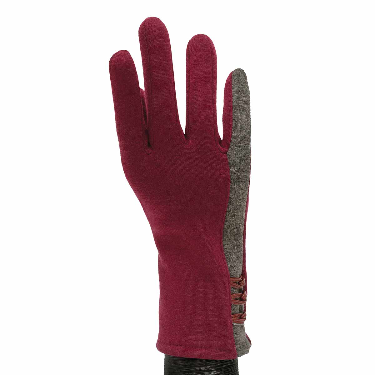 Burgundy Gloves with Grey Stripe