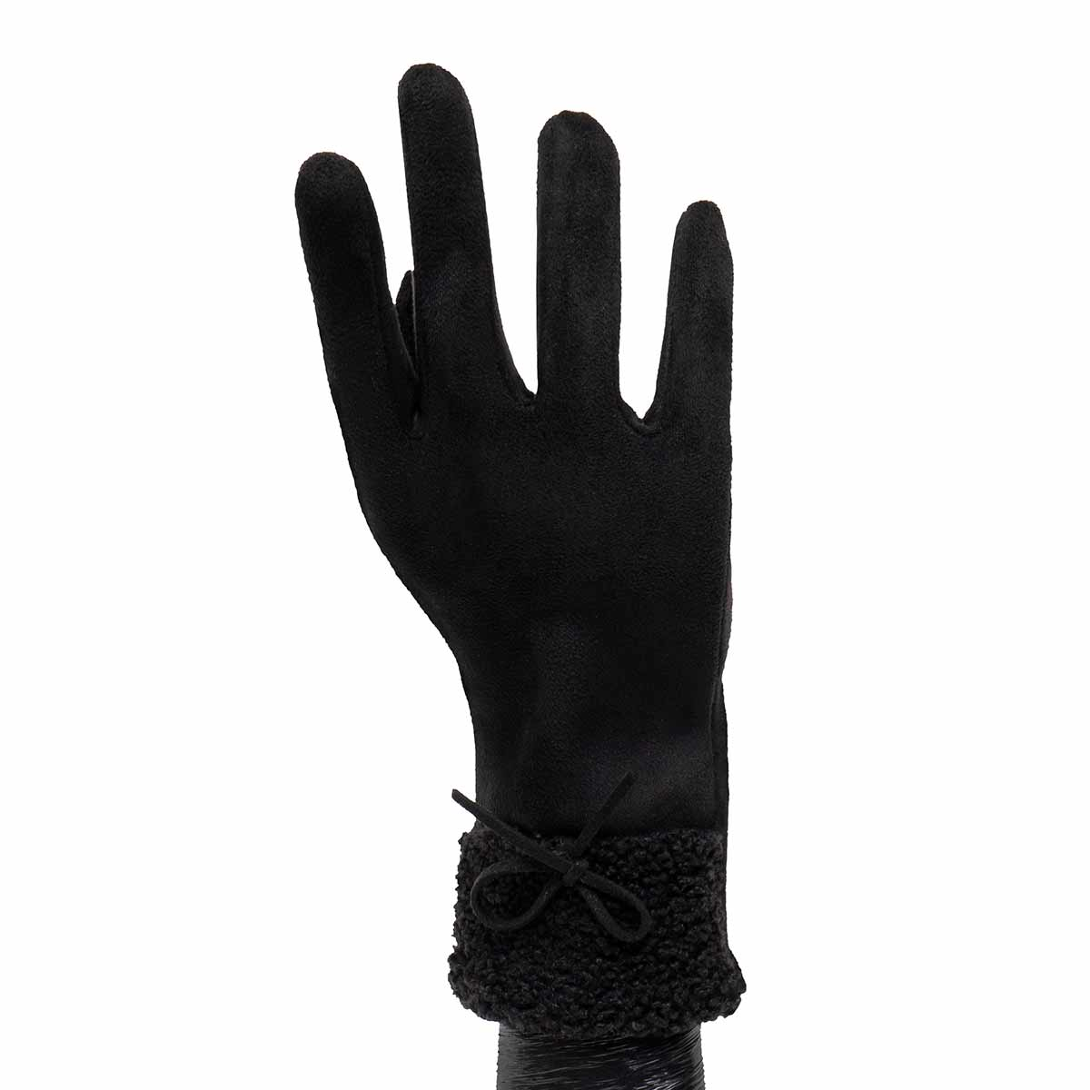 Black Gloves with Fur Cuff and Bow