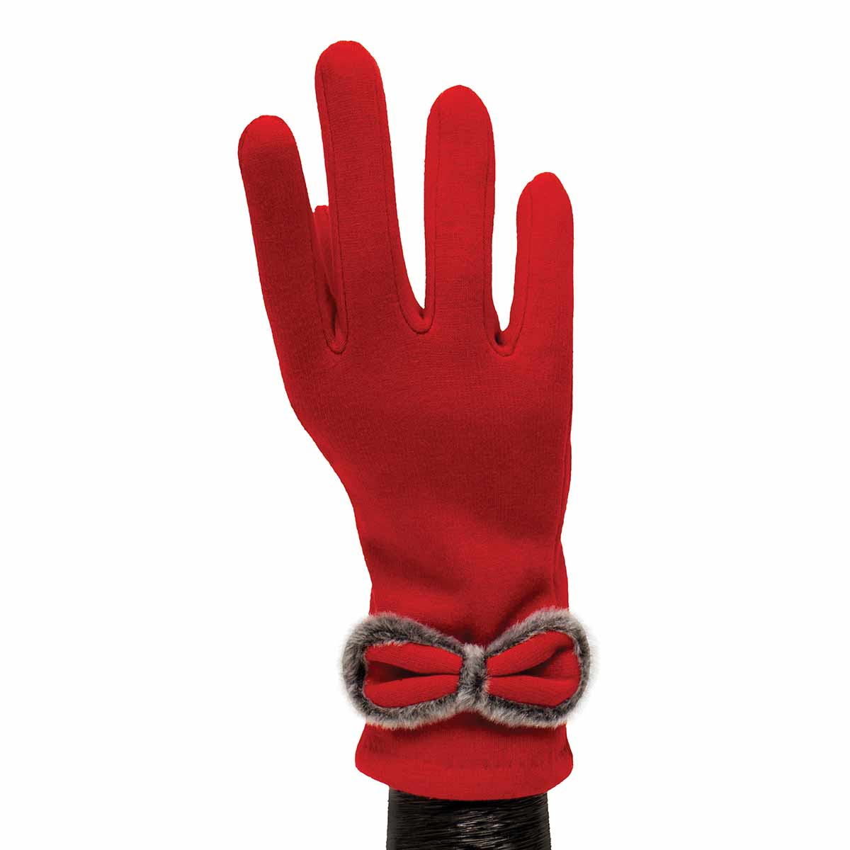 Red Gloves with Red and Grey Bow