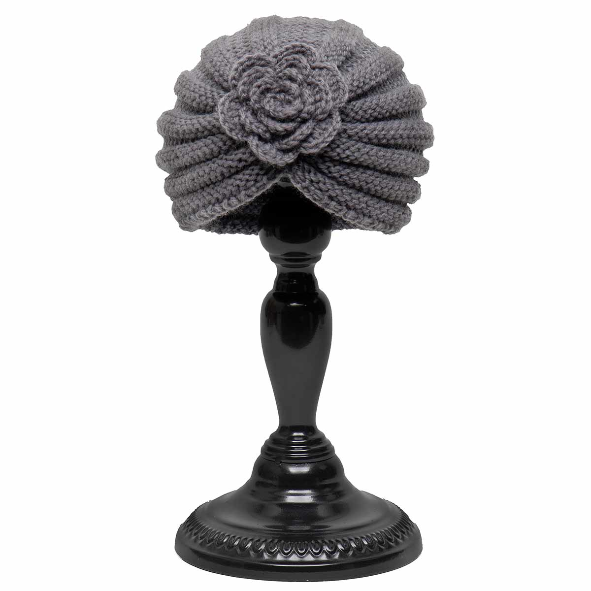 Grey Knit Cloche Hat with Flower